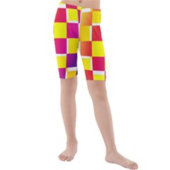 Squares Colored Background Kids  Mid Length Swim Shorts