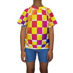 Squares Colored Background Kids  Short Sleeve Swimwear