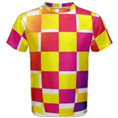 Squares Colored Background Men s Cotton Tee
