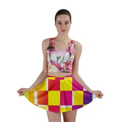 Squares Colored Background Mini Skirt
