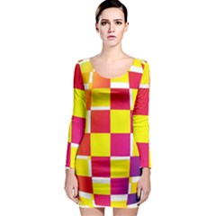 Squares Colored Background Long Sleeve Bodycon Dress