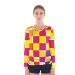 Squares Colored Background Women s Long Sleeve Tee