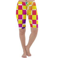 Squares Colored Background Cropped Leggings