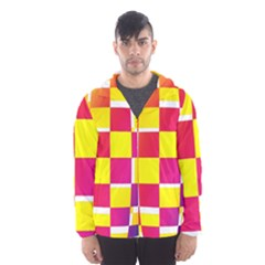 Squares Colored Background Hooded Wind Breaker (Men)