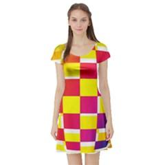Squares Colored Background Short Sleeve Skater Dress