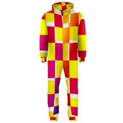 Squares Colored Background Hooded Jumpsuit (men)