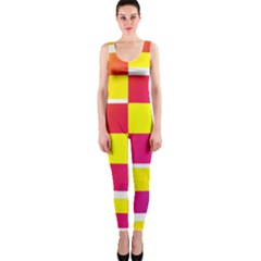 Squares Colored Background OnePiece Catsuit