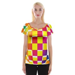 Squares Colored Background Women s Cap Sleeve Top