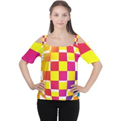 Squares Colored Background Women s Cutout Shoulder Tee