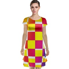 Squares Colored Background Cap Sleeve Nightdress