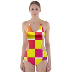Squares Colored Background Cut-Out One Piece Swimsuit