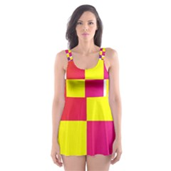 Squares Colored Background Skater Dress Swimsuit