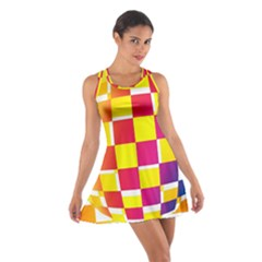 Squares Colored Background Cotton Racerback Dress