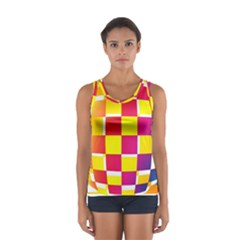 Squares Colored Background Women s Sport Tank Top