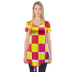 Squares Colored Background Short Sleeve Tunic