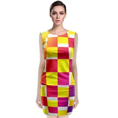 Squares Colored Background Classic Sleeveless Midi Dress