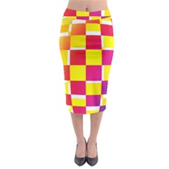 Squares Colored Background Midi Pencil Skirt