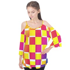 Squares Colored Background Flutter Tees