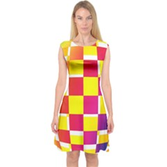 Squares Colored Background Capsleeve Midi Dress