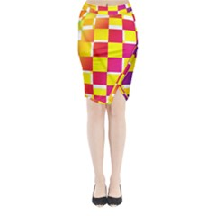 Squares Colored Background Midi Wrap Pencil Skirt
