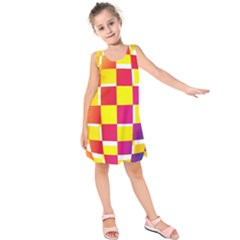 Squares Colored Background Kids  Sleeveless Dress