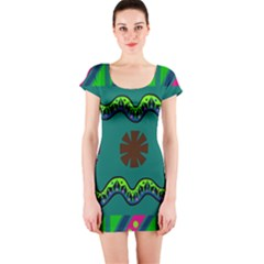 A Colorful Modern Illustration Short Sleeve Bodycon Dress