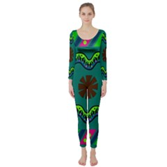 A Colorful Modern Illustration Long Sleeve Catsuit