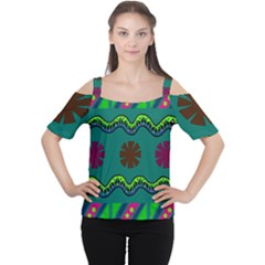 A Colorful Modern Illustration Women s Cutout Shoulder Tee