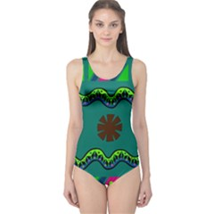 A Colorful Modern Illustration One Piece Swimsuit