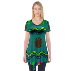 A Colorful Modern Illustration Short Sleeve Tunic
