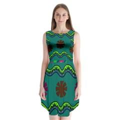 A Colorful Modern Illustration Sleeveless Chiffon Dress