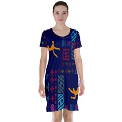 A Colorful Modern Illustration For Lovers Short Sleeve Nightdress