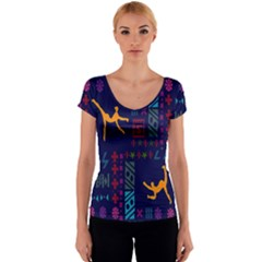 A Colorful Modern Illustration For Lovers Women s V-Neck Cap Sleeve Top
