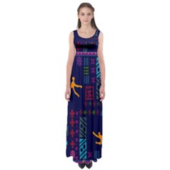 A Colorful Modern Illustration For Lovers Empire Waist Maxi Dress