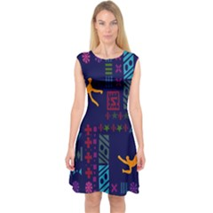 A Colorful Modern Illustration For Lovers Capsleeve Midi Dress