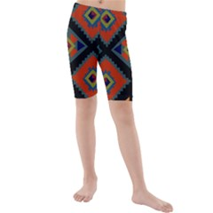 Abstract A Colorful Modern Illustration Kids  Mid Length Swim Shorts