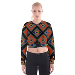 Abstract A Colorful Modern Illustration Women s Cropped Sweatshirt