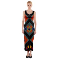 Abstract A Colorful Modern Illustration Fitted Maxi Dress