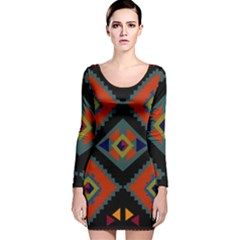 Abstract A Colorful Modern Illustration Long Sleeve Velvet Bodycon Dress