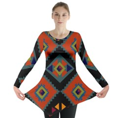 Abstract A Colorful Modern Illustration Long Sleeve Tunic