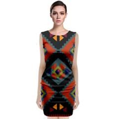 Abstract A Colorful Modern Illustration Sleeveless Velvet Midi Dress