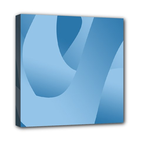 Abstract Blue Background Swirls Mini Canvas 8  X 8