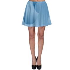 Abstract Blue Background Swirls Skater Skirt
