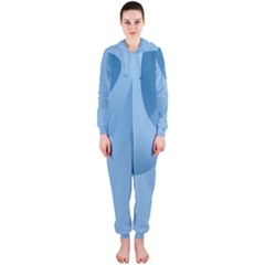 Abstract Blue Background Swirls Hooded Jumpsuit (Ladies)