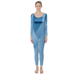 Abstract Blue Background Swirls Long Sleeve Catsuit