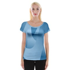 Abstract Blue Background Swirls Women s Cap Sleeve Top