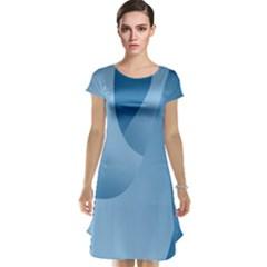 Abstract Blue Background Swirls Cap Sleeve Nightdress