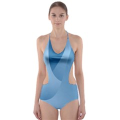 Abstract Blue Background Swirls Cut-Out One Piece Swimsuit
