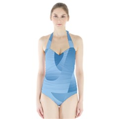 Abstract Blue Background Swirls Halter Swimsuit