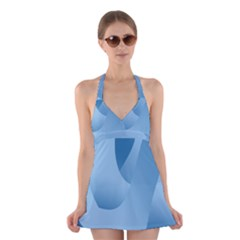 Abstract Blue Background Swirls Halter Swimsuit Dress